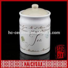 white ceramic storage jar tea coffee sugar