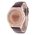 Owl Leather Quartz Wrist Watch Crystal