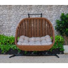 Resina de poli rattan patio mimbre 2 asientos Swing silla o hamaca para jardín al aire libre