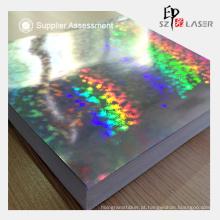 Papel de holograma prata segurança com padrão de vidro quebrado