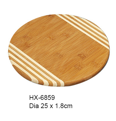 round bamboo cutting board with stripe design