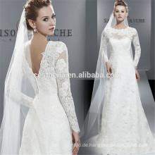 Langer Hülsenschatz mit niedriger rückseitiger Spitze-Applique-Nixe-Braut-Kleid-Weiß-Fischschwanz-Hochzeits-Kleider