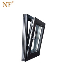 Soundproof insulated french aluminum tilt and turn window