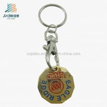 Presente promocional liga de zinco trolley Token moeda titular Keychain com gancho de cão