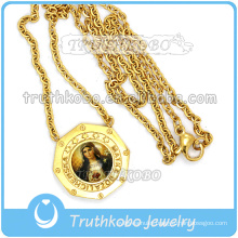 18K Gold Large The Holy Heart of Jesus Medal with Link Chain Wholesale Christ 316 Stainless Steel Jewelry Necklace
