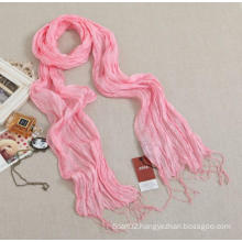 Women Pure Silk Solid Color Long Ruffle Scarf with Friges (SD260L)