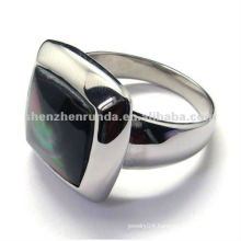 2012 special fashion design 316 stainless steel rings jewellery with black gem on