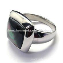 2012 moda especial design 316 anéis de aço inoxidável jóias com gema preta em