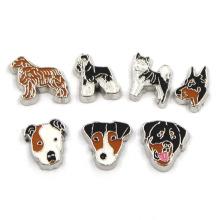 Эмаль металла цинковый сплав Симпатичные собаки плавающей Locket Charms