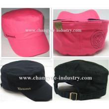 Gorra militar personalizado algodón ajustado negro y rojo