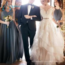 Sashes Crystal Button Long Sleeve Wedding Dress