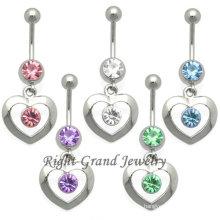 14G Press Fit Rhinestone Heart Navel Piercing Ring