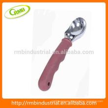 zinc alloy ice cream spoon with plastic handle
