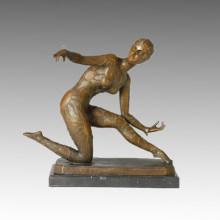 Dancer Bronze Sculpture Beauty Girl Carving Brass Statue TPE-168