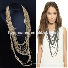 2017 Statement jewelry gold filled chain bead tassel necklace