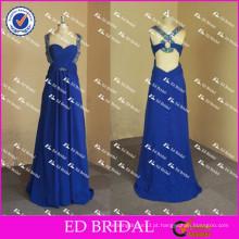 ED Bridal Elegante e Sexy Beaded Cap Sleeve Original Back Empire Long Blue Chiffon Evening Dress 2017