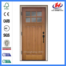 Jhk-G32-4 Alder Wood 3 Panel 6 Lite مقلد مقسم Lites و Double Glue Chip Glass Wood Door
