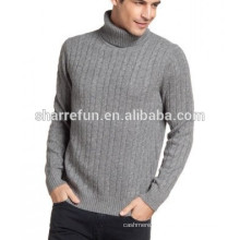 wholesale 7gg cable knitted turtleneck men's 100% pure cashmere knitwear