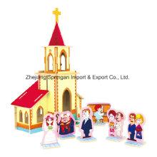 Brinquedos de madeira Collectibles para casas de DIY Capela de casamento