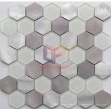 Aluminium Mix Super White Glass Mosaic (CFM1028)