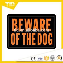 """10 """"x 14"""" alumínio cuidado com o cão sinal Hy-Glo laranja e preto"""