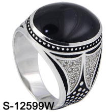 925 plata esterlina Mirco ajuste hombres anillo con ágata (s-12599w)