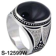 925 Sterling Silver Mirco Set Men Ring avec l'agate (S-12599W)