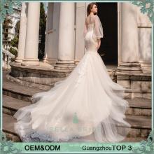 Spezielles Designe Asymmetrisches Hochzeitskleid mit Meerjungfrau Schwanzdecke