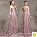 Pink A Line Lace Applique Robe De Soiree Vestidos de noite para mulheres gordas