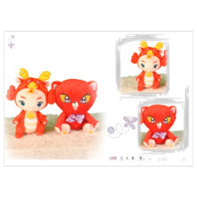 Bright red festive fuwa plush toy