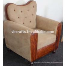 Кожаный диван с холст фьюжн
