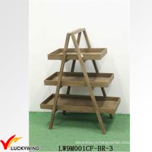 Портативный античный дисплей твердых 3 уровня деревянной полки