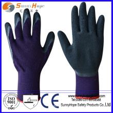 Enrugamento fino Luvas de segurança de malha de algodão preto revestidas com látex
