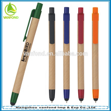 Custom company logo gift recycle pen with stylus