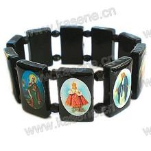 Handgefertigte schwarze Plastik mit christlichem Bild Rosenkranz Armband