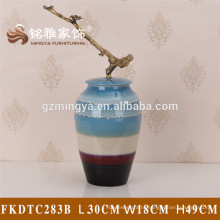 Decorative cement home decoration items concrete Chinese style antique ceramic flower vase