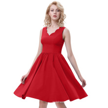 Belle Poque Sleeveless V-Neck High Stretchy A-Line Vintage Red Women One-piece Casual Dresses BP000269-3