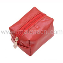 Red Square Leather Cosmetic Pouch Makeup Bag