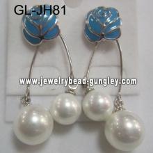 blue flower women shell pearl earrings