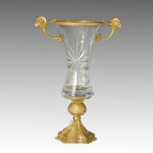 Crystal Vase Statue Doppel Schaf Köpfe Bronze Skulptur Tpgp-022