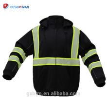 Vente en gros 100% polyester molleton à capuche haute visibilité chaux / noir réfléchissant sécurité vêtements de travail salut vis à capuche sweat