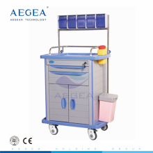 Caja de almacenamiento en la parte superior del hospital móvil Material de ABS carro de anestesia con cajón