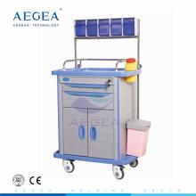 Boîte de rangement au panier d'anesthésie matérielle d'ABS mobile d'hôpital supérieur avec le tiroir