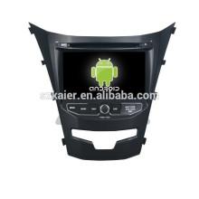 navegação de carro android 4.4.2, dvd do carro com gps, Bluetooth, MIRROR-CAST, AIRPLAY, DVR, Jogos, Dual Zone, SWC para 2014 Korando