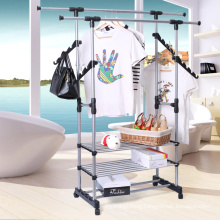 Stainless Steel Double Rods Rolling Garment Rack Clothes Drying Hanging Clothing Rack