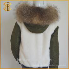 Latest Genuine Raccoon Womens Real Coat Alinhado Fur Parka