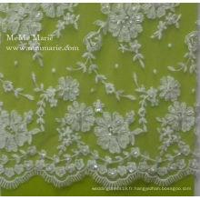 Tissu en dentelle élastique de haute qualité avec fleur en broderie à ceinture en perles pour robe de mariée Accueil Desgin 52 '' No.CA094B