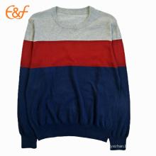 Combinación de color suéter de algodón liso para hombre