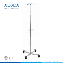 AG-SS009A CE ISO movable stainless steel adjustable hospital iv pole