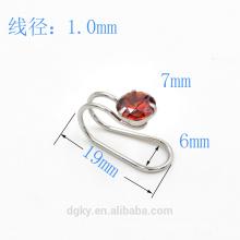 Atacado rodada zircão aço inoxidável orelha punho corpo jóias ouvido clip piercing
